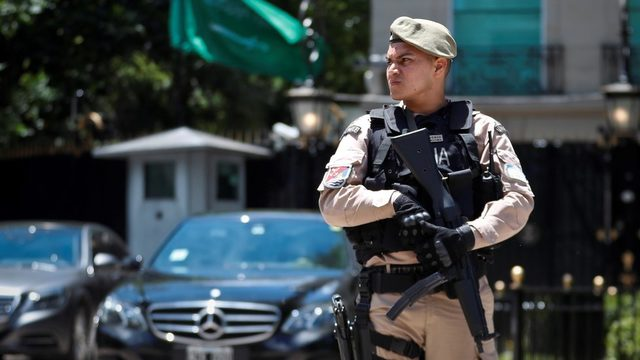 A policeman guards the Saudi Embassy in Buenos Aires