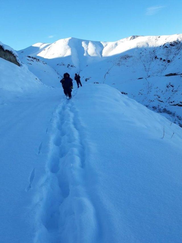 At sırtında karlı dağları aşıyorlar