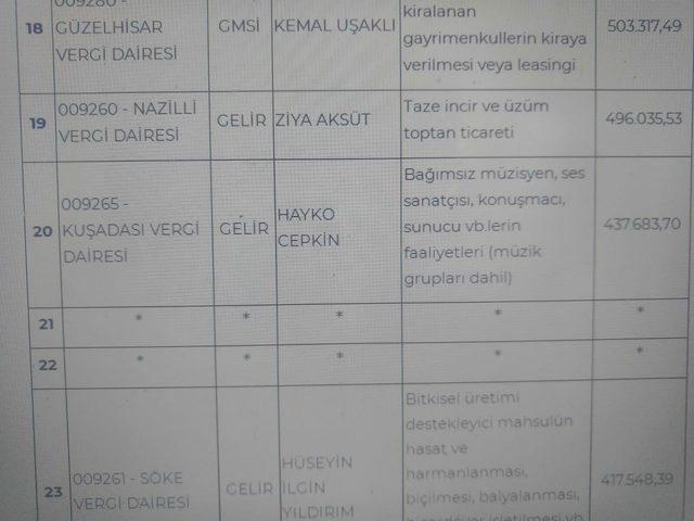 Hayko Cepkin Aydın'da vergi rekortmeni oldu