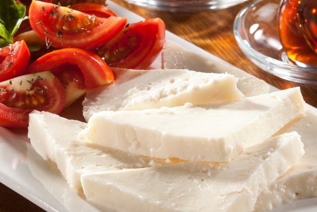sliced-turkish-feta-cheese-with-tea-picture-id120990364