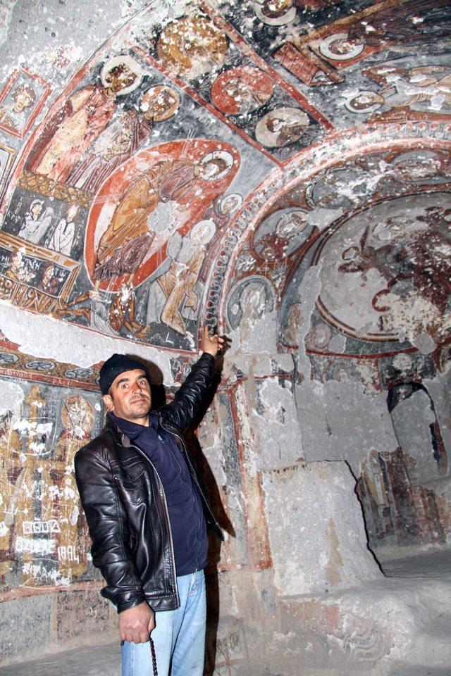 Soğanlı Ören Yeri'nde kilise duvarlarındaki tahribata tepki
