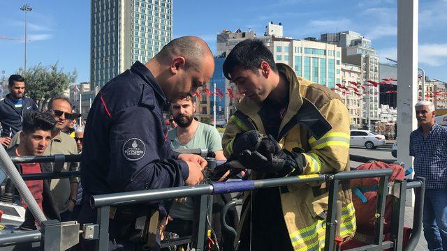 Taksim Meydanı'nda karga kurtarma operasyonu
