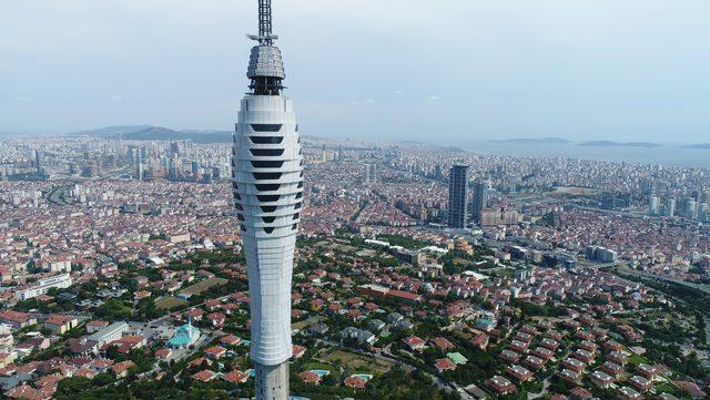 Yüzde 85'i tamamlanan Çamlıca Kulesi havadan görüntülendi