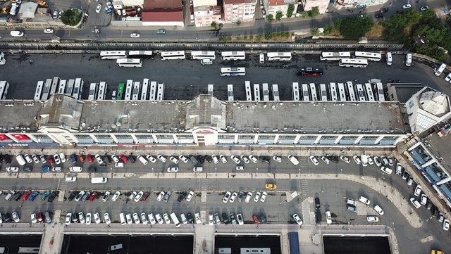 (Havadan fotoğraflarla) Otogarda seçim hazırlıkları