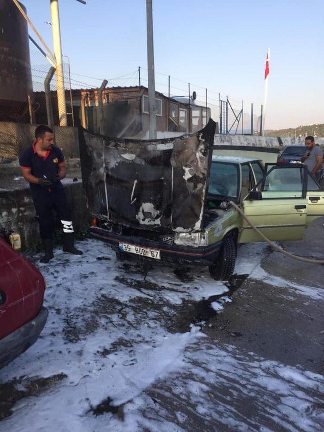 Sinop'ta otomobil yangını