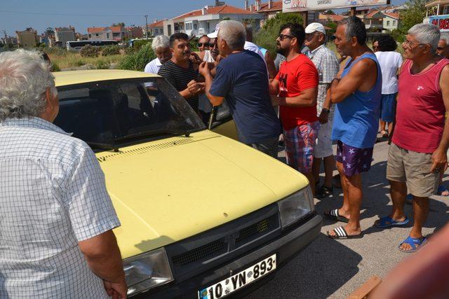 Yazlıkçıların eylemine müdahale eden uzman çavuşa otomobil çarptı