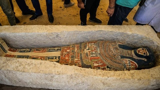 A recently discovered sarcophagus at Dahshur. Photo: 13 July 2019