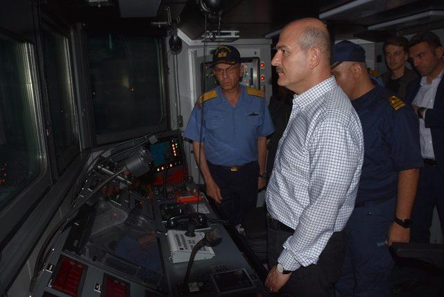 Bakan Soylu, TCS Dost Gemisiyle gece seyrine çıktı