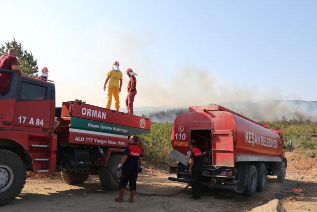 Keşan'daki orman yangını 12 saatte söndürüldü