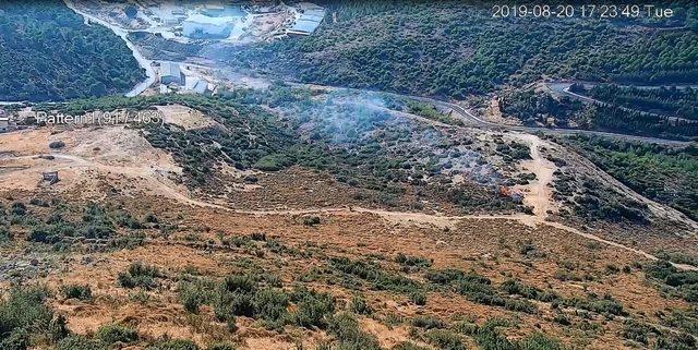 Orman yangının çıktığı anlar kamerada
