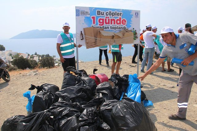 Bodrum'da hükümlülerden çevre temizliği