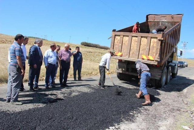 Kaymakam Pişkin, asfalt çalışmalarını inceledi