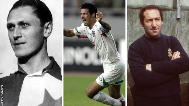 Soldan sağa: Josef Bican tüm zamanların en fazla gol atan futbolcusu (olabilir), Ali Daei ulusal takımlarda en fazla gol atan futbolcu ve Francisco Gento herkesten fazla Avrupa Kupası kazandı