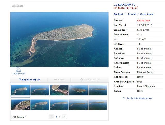 Sahibinden satılık adalar