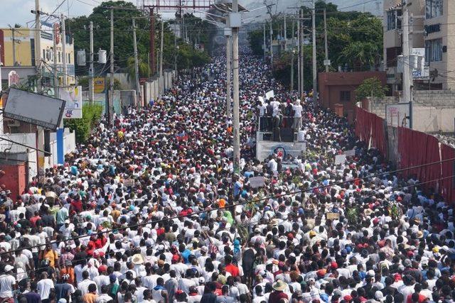 Haiti'de 13 Ekim'de düzenlenen protestolardan bir görüntü