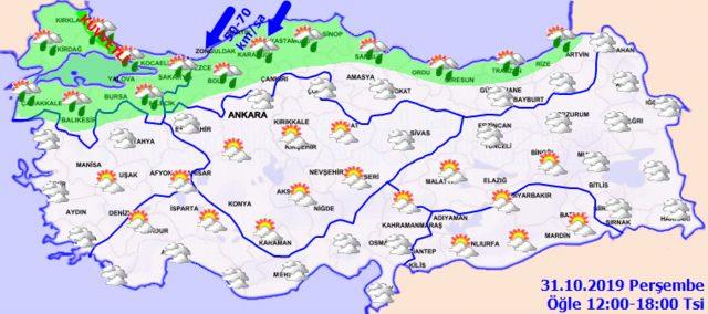 31 ekim perşembe bugün hava durumu tahmini meteoroloji