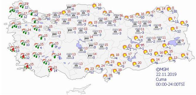 22 kasım hava durumu meteoroloji
