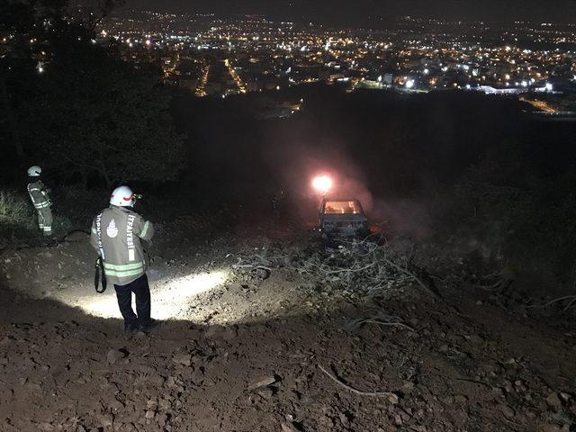 İstanbul'da ormanlık alanda araç yangını<br />