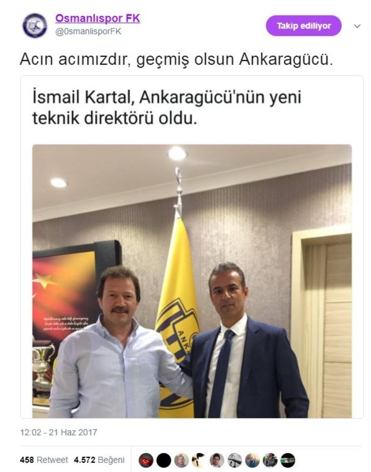 Twitter'daki OsmanlısporFK parodi hesabı kurulduğu günden bu yana yaptığı paylaşımlarla dikkat çekiyor.