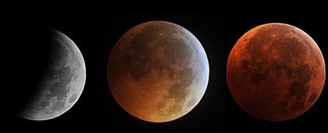 2010 yılında Ay tutulmasının farklı evreleri.