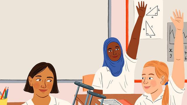 Okulda üç kızı gösteren çizim