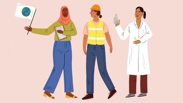 Üç kadın profesyoneli gösteren çizim