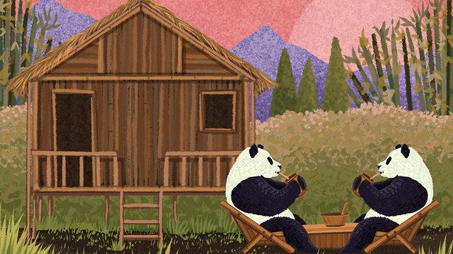 Arka planda bambudan yapılmış bir evle çay içen iki panda