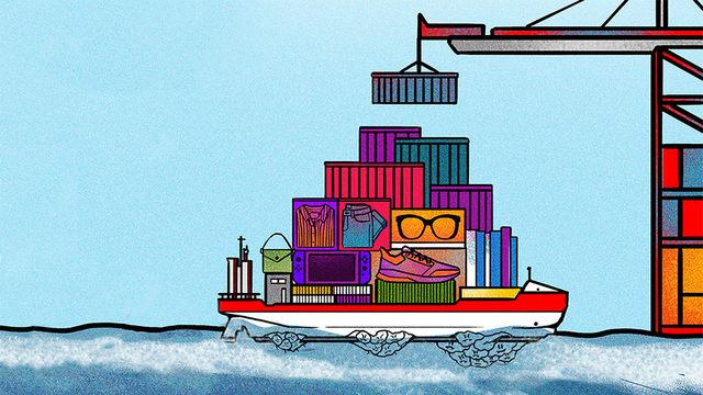 Denizde, alt tarafına dağlar kadar midye yapışmış kargo konteynerleriyle dolu bir gemi