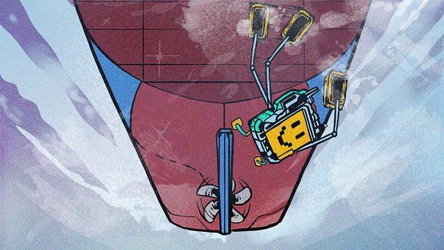 Bir kargo gemisinin altını temizleyen bir robot