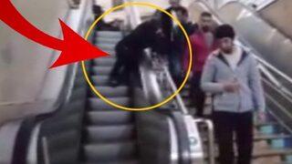 Yürüyen merdivenlerde mahsur kaldı