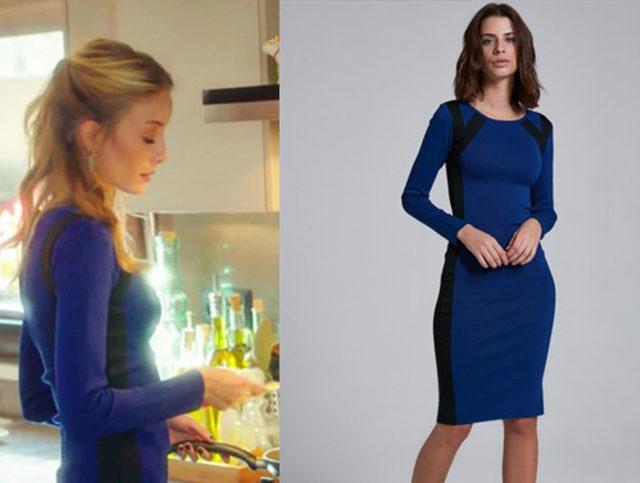 Ufak-Tefek-Cinayetler-Pelin-Bade-İşçil-yanları-siyah-şeritli-mavi-elbise-markası-ADL-tasarımı-Cengiz-Abazoğlu