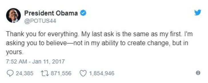 Obama'nın teşekkürü