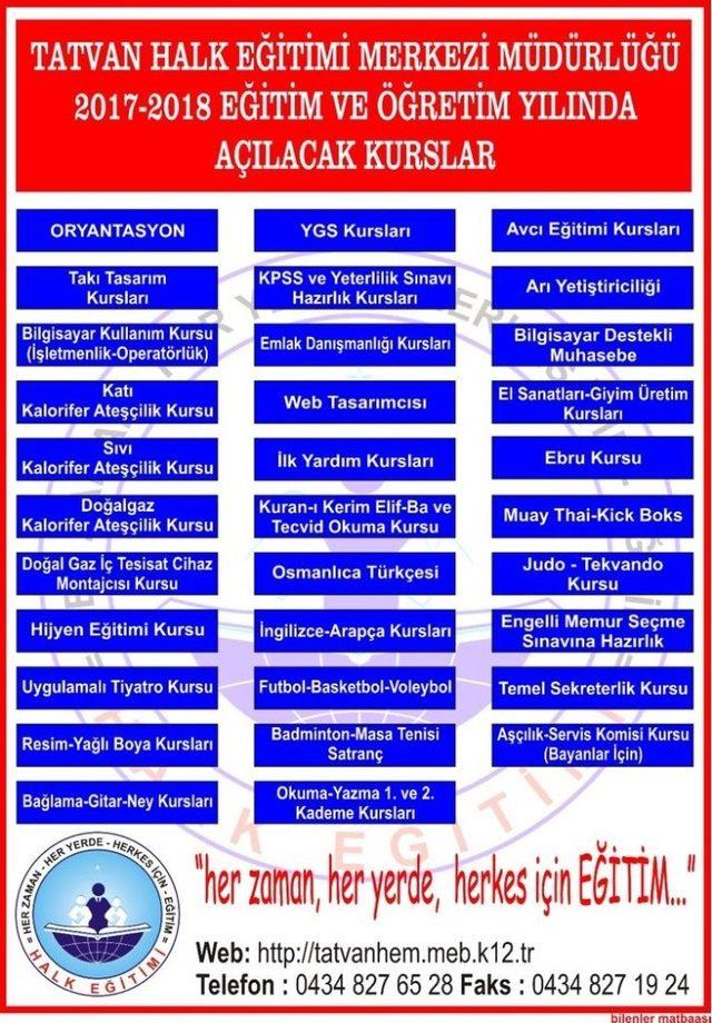 Tatvan Halk Eğitim Merkezinden 40 farklı kurs
