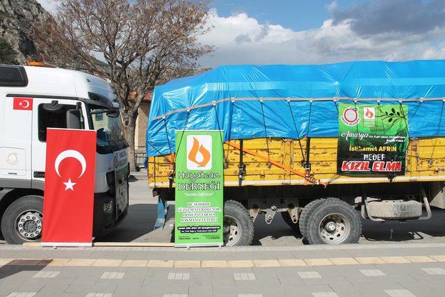 Amasya'dan Mehmetçik için 4 TIR'lık yardım malzemesi