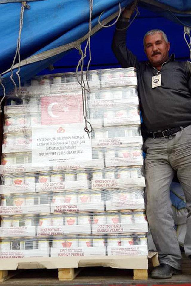 Antalyalı esnaftan, Afrin'e keçi boynuzu pekmezi