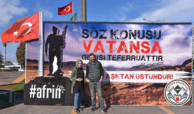 Giresun Belediyesinden Afrin'de ki askerlere 'Sevgililer günü' standı.