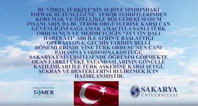 SAÜ'de okuyan yabancı öğrencilerden TSK'ya destek klibi