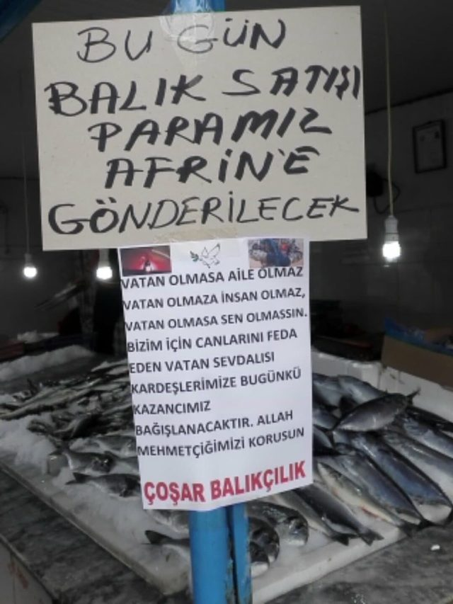 Hisarcık'lı balıkçı bir günlük hasılatını Afrin'e bağışladı