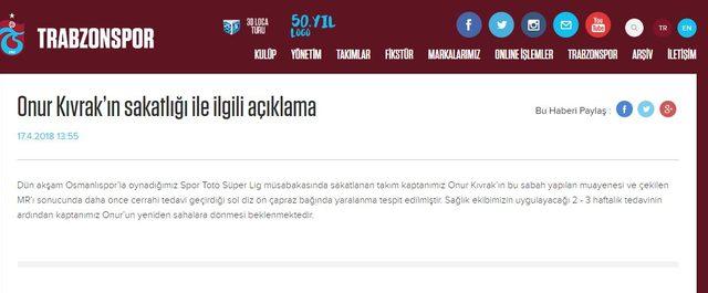 Trabzonspor'dan Onur açıklaması