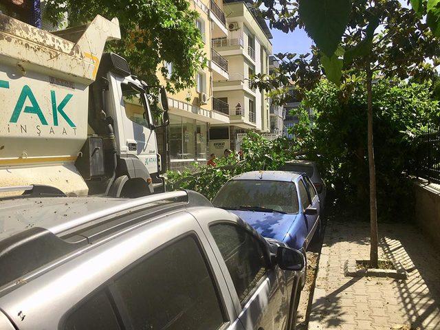 Kamyonun çarptığı ağaç dalı, elektrik telleri ile otomobile zarar verdi
