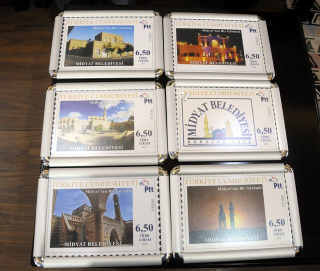 Midyat'ın tarihi mekanları, mektup pullarında