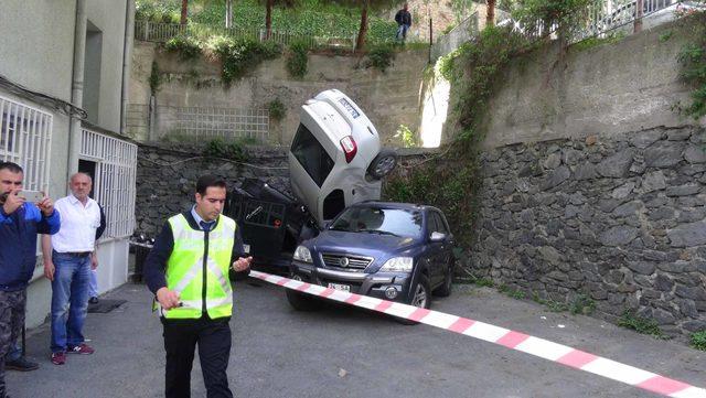 (ÖZEL)Beşiktaş'ta görenleri şaşkına çeviren kaza