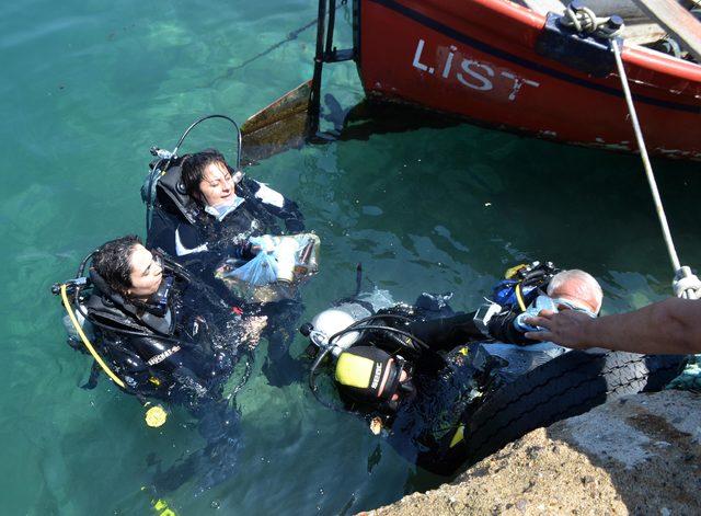 Saros'da denizin dibinden çıkarılan atıklar şaşırttı