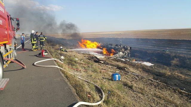 Aksaray'da LPG yüklü tanker şarampole devrildi: 1 ölü <br />