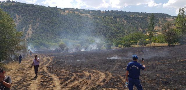 Tarlada anız yandı, 2 kişi dumandan etkilendi