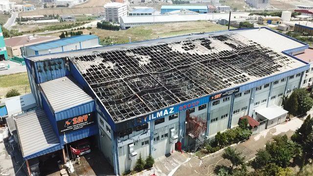 (Havadan fotoğraflarla) - Hadımköy'de yanan fabrikanın son durumu