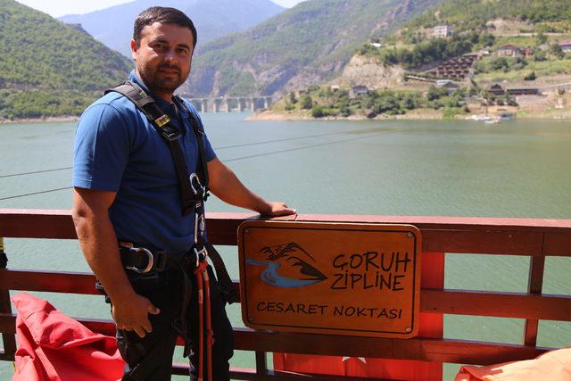 Artvin'de 385 metrelik hatta zipline