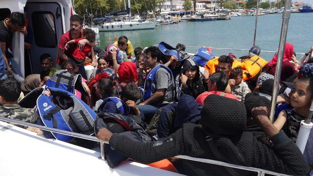 Ayvacık'tan Midilli'ye geçmeye çalışan 99 kaçak yakalandı