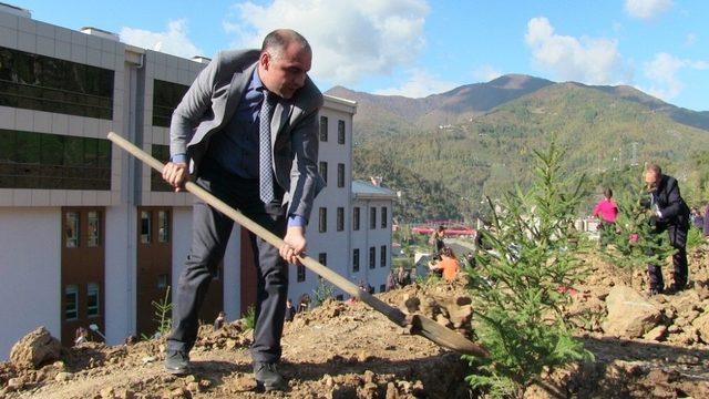 Borçka'da bürokrat ve öğrenciler hastane etrafına fidan dikti
